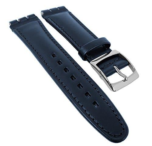 Minott Ersatzband Uhrenarmband Kalbsleder Band dunkelblau passend zu Swatch Uhren 19mm 29580S