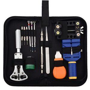 Montre Kit Zeiger Outil de Réparation Montre Kit Professionnel D'horlogerie Ensemble Professionnel montre accessoiries D'outils De Réparation De Montre dans un sac/une boite (Noir)