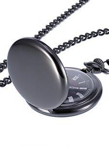 Mudder Montre de Poche à Quartz Antique Pocket Watch avec Chaîne en Acier (Noir)