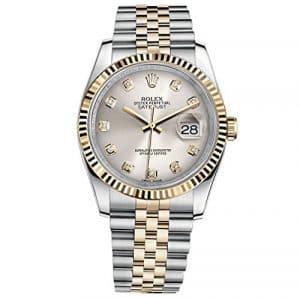 Rolex Datejust 36en acier or jaune Cadran Montre en acier argenté diamant 116233