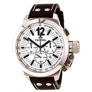 TW Steel – TWCE1008 – Montre Garçon – Quartz – Analogique – Chronographe – Bracelet Cuir Marron