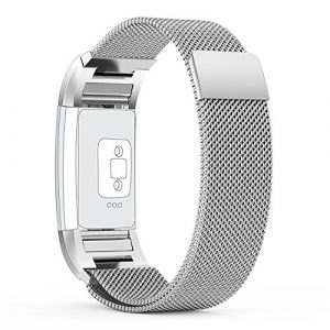 FitBit Charge 2 Bandes (17-20,6 cm), PUGO TOP acier inoxydable Milanaise bande de charge pour bracelet Fitbit Charge 2-argent
