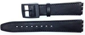 New Condor 16mm (19mm) Sized Genuine Leather Replacement Strap, Thin Type, Compatible for Swatch® Skin Watch – Black – SC15_01