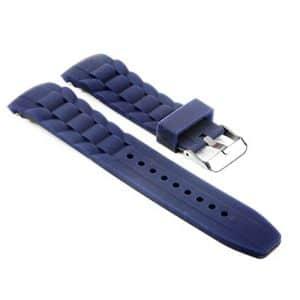 StrapsCo imperméable Bleu Bracelet en Silicone rainuré incurvé fin en caoutchouc sangle 18mm