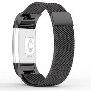 FitBit Charge 2 Bandes (17-20,6 cm), PUGO TOP acier inoxydable Milanaise bande de charge pour bracelet Fitbit Charge 2-noir