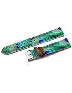 iCreat 14mm Bracelet de Montre Rechange Silicone NOIR Boucle Ardillon Watch Strap – Élégant et raffiné Plume bleue de paon
