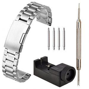 JSDDE Bracelet de Montre en Acier Bracelet en Maille Mince Boucle de Pile 20mm-22MM avec Outil