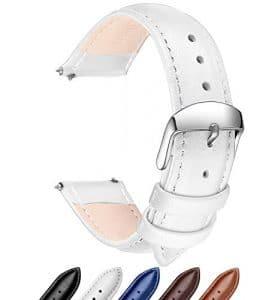Ribération Rapide Bracelet Cuir Véritable Bandes de Montres, SONGDU Remplacement bracelet montre bracelet bracelet Band avec Boucle En Acier Inoxydable (18mm, 20mm, 22mm) (22mm, Blanc)