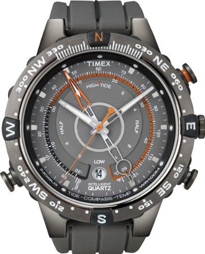 Timex – T49860D7 – Intelligent Quartz – Montre Homme – Quartz Analogique – Cadran Gris/Orange – Bracelet Silicone Gris
