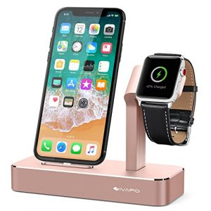 iVAPO Station pour Apple Watch iPhone 2 en 1 Aluminum Support pour Apple Watch Series 3/Apple Watch Series 2/Apple Watch Series 1/Apple Watch Nike+/ iPhone 8 Plus/iPhone 8/iPhone 7 Plus/iPhone 7/iPhone 6s Plus/iPhone 6s/iPhone SE [Gris, Sans Chargeur et Câble ]