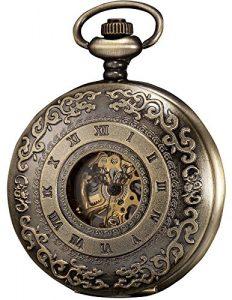 KS KSP043 Montre de Poche M¨¦canique Cadran Transpatent Bronze Bo?tier + Cha?ne