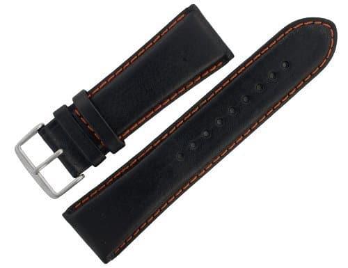 Sangle Montre assorties 27mm en cuir noir avec coutures orange asrtstrp1
