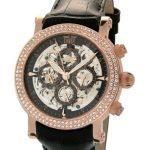 Davis – 1385 – Montre Femme Acier doré Rose – Fashion – Automatique Analogique – Squelette – Cadran serti de brillants – Bracelet Cuir Noir