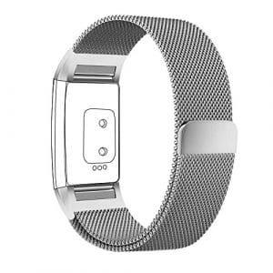 FitBit Charge 2 Bandes (17-20,6 cm), PUGO TOP acier inoxydable Milanaise bande de charge pour bracelet Fitbit Charge 2 (petitl-argent)