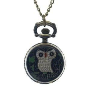 Fobtime Cute Owl Noir avec motif ailes Bronze en forme d'animaux en émail Filles étudiants montres de poche