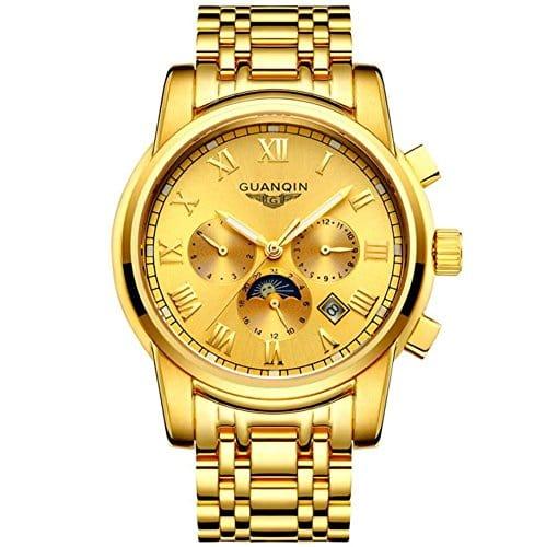 Guanqin Homme 's creux montre mécanique automatique Or 18K montre Multi–Fonction Doré Bracelet en acier inoxydable, 1