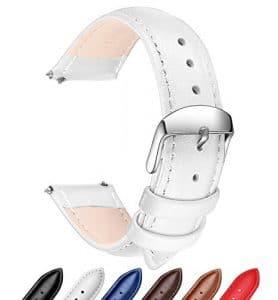 Ribération Rapide Bracelet Cuir Véritable Bandes de Montres, SONGDU Remplacement bracelet montre bracelet bracelet Band avec Boucle En Acier Inoxydable (18mm, 20mm, 22mm) (18mm, Blanc)