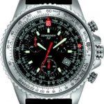 Torgoen – T2 01 02 S02 – Montre d'aviateur Homme – Quartz chronographe – Bracelet en Cuir noir