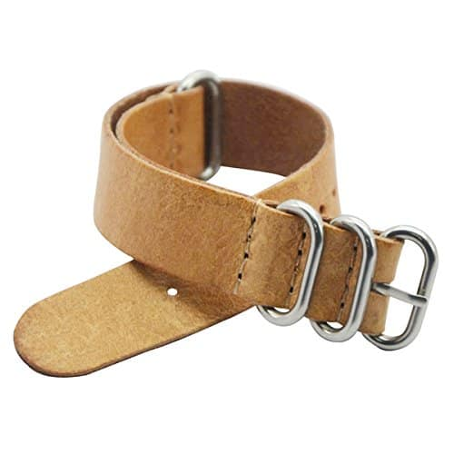 18mm Bracelet montre NATO en cuir style Bandes Bracelet Inoxydable boucle en acier (Beige)
