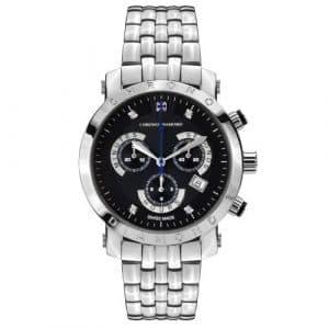 Chrono Diamond 82127_ schwarz-41mm–Montre de Poignet pour homme, bracelet en métal couleur argent