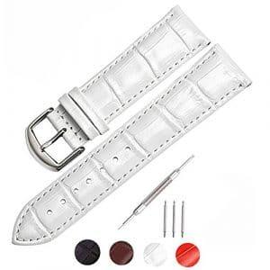 mysunny Cuir Véritable Bracelet de Montre Watch Strap Pour Homme Femme Remplacement Les Montres Haut de Gamme, Les Montres de Mode, (Blanc 18mm)