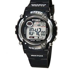 Yezelend Multifonction Digital Boy quartz LED Alarm Date Sport montre-bracelet étanche (Argent)