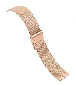 16 mm rose bracelets de montres en or maille chainmail ss solide 304 inox bande montre d'affaires en boucle milanese en acier