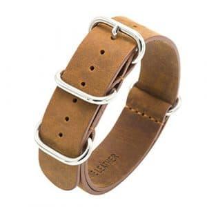 Bracelet Nato Bracelet de Montre en Cuir V¨¦ritable Crazy Horse 18mm 20mm 22mm Premium Bandes de Montre Zulu Militaire Swiss avec Boucle en Acier Inoxydable