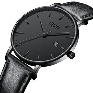 CIVO Montres Noir Hommes Ultra Mince Minimaliste Mode Montre Bracelet Imperméable Calendrier Date Luxe Élégant Entreprise Gents Montres à Quartz pour Homme (Bande en Cuir Noir/Cadran Noir)