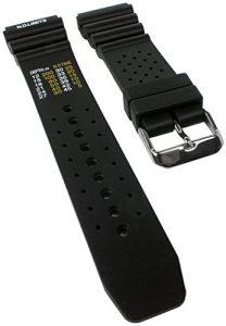 Minott Bracelet plongée avec tables de décompression | bande bracelet de montre plastique Band noir de rechange souple 30821s, chevalet Largeur: 24mm