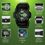 garçons Sports Digital montres–Enfants extérieur 5bars montre étanche analogique avec Format 12/24h/24/alarme électronique pour enfants, sport montre bracelet pour ados garçon–Vert en Bhgwr