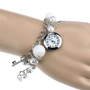 Montre Femme Pas Cher a la Mode , GongzhuMM 2018 Nouveau Femme Quartz Montre Bracelet Vintage Perle de Faux Charms Bracelet Bijoux Cadeau de Mode (Diamètre: 2,1 cm, argent)