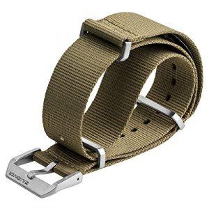 Bracelet de montre ZULUDIVER Nylon NATO Sable du désert, Fermoir Brossé , 20mm