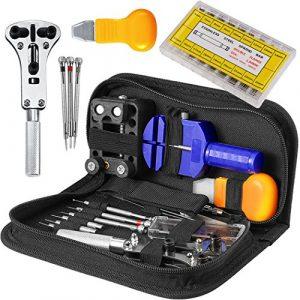 Kit de Réparation Montre Outils – STAGO 294 Pcs Kits de Réparation Outils Professionnels Pour Montre Utilisé pour changer la bande de montre,Outil de Remplacement des Piles