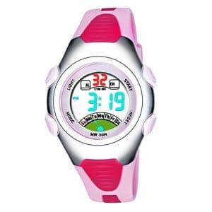 Montres de Digital de filles, montre imperméable de sports d'enfants de 3 ATM avec l'alarme, Montres bracelet électroniques de poignet de sport d'enfants pour les petites filles enfants RSVOM