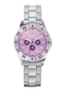 Trendy Junior – KL 173 – Montre Fille – Quartz Analogique – Cadran Violet – Bracelet Métal Gris