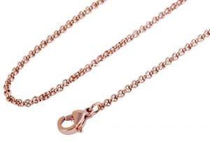 Akzent–Collier à maillons ronds en acier inoxydable avec revêtement IP or rose, longueur 70cm/Épaisseur 2mm