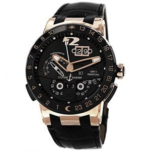 Ulysse Nardin Homme 43mm Bracelet Cuir Noir Saphire Automatique Montre 326-03