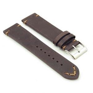 Dassari Hommage Extra long vintage Cuir italien Bracelet de montre en Marron 24mm