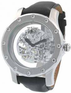 Davis – Montre XXL TYT 359 – Squelette Automatique – Bracelet en Cuir Noir – Fermeture déployante double
