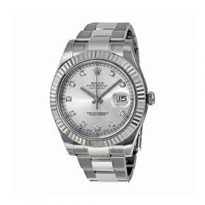 Rolex Datejust II 116334SDO Montre bracelet Oyster pour homme, cadran en argent et diamants, lunette cannelée en or blanc 18ct