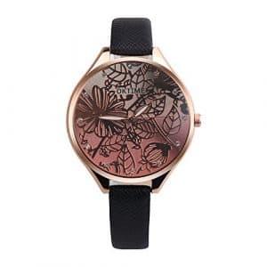 Souarts Femme Montre Bracelet Quartz Analog Cadran Grand Motif Fleur Sangle en Cuir PU Noir 22cm