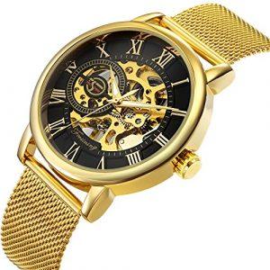 Affute montre mécanique pour homme montres classique Squelette Plaqué or Maille en acier inoxydable Sangle automatique Chiffres montre bracelet