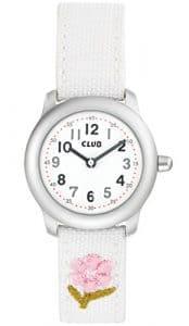 Club fille quartz analogique bracelet montre enfant avec bracelet cuir textile unterfüttert Blanc Fleurs a56535–1S0A