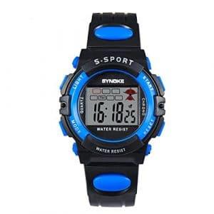 Rainbabe LED Sports de plein air Wristdigital montre étanche lumineuse Alarme montre numérique Noir Bleu pour enfants 23cm