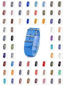 18–20–22mm en Nylon Bracelet de Montre Militaire NATO Bracelet de Montre Textile Bracelet Band