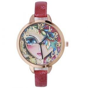 Rainbabe vintage rétro Motif fleur Cadran montre à quartz fine Sangle Bracelet de montre Rouge pour femme