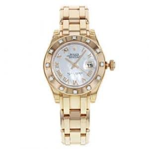 Rolex Datejust Chef-d' œuvre 80315Pearlmaster Balai à Franges Or Rose Diamant Montre pour Femme