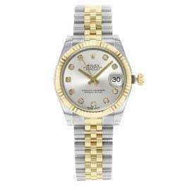 Rolex Datejust Lady 31automatique Cadran argenté avec ensemble de diamants Or jaune 18carats et acier inoxydable montre femme 178273sdj