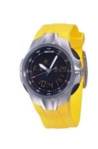 Sector – R3251211055 – Série 210 – Montre Homme – Multifonction – Analogique et Digitale – Bracelet Caoutchouc jaune